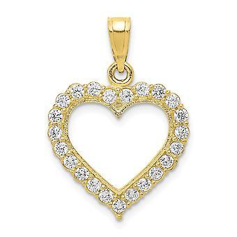 10k Yellow Gold Polished Cubic Zirconia Heart Pendant