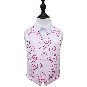 Boy's White & Hot Pink Scroll Wedding Waistcoat