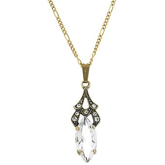 Cavendish French Clear Cubic Zirconia Art Deco Leaf Drop Pendant Chain