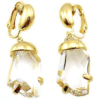Kenneth Jay Lane or et cristal Goutte Boucles d'oreilles clips