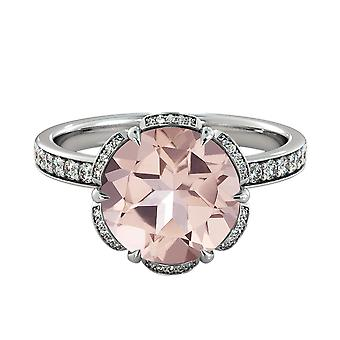 14K White Gold 3.50 CTW natural peach/pink VS Morganite Ring with Diamonds Flower Vintage Unique