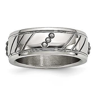 8mm rostfritt stål polerad pärlstav räfflad Ring - Ring storlek: 8-13