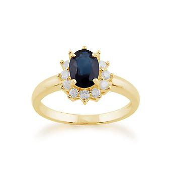 Gemondo 9 kt gult gull 1.11ct blå safir & Diamond ovale klynge Ring