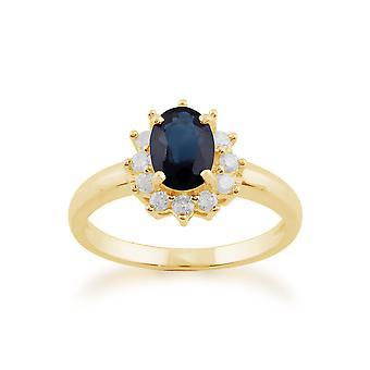 Gemondo 9ct Yellow Gold 1.11ct Blue Sapphire & Diamond Oval Cluster Ring