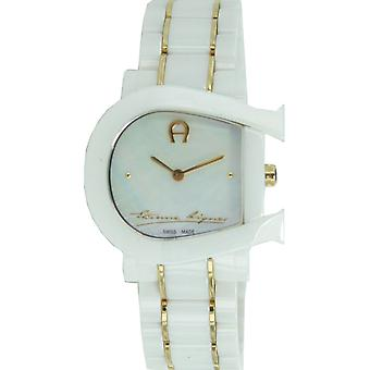 Aigner ladies watch wristwatch Genoa due ceramic white gold A31642
