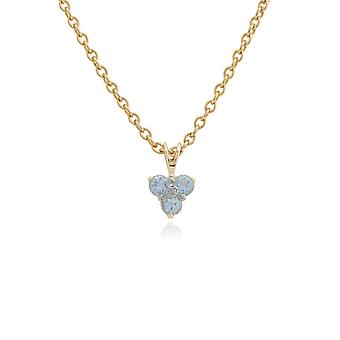 9ct Yellow Gold 0.39ct Blue Topaz & Diamond Classic Cluster Pendant