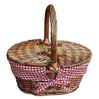 Childs Light Steamed Finish Red Check Oval Picnic Basket