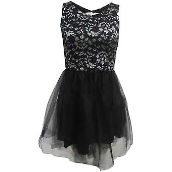 Black Silver Lace Chiffon Prom Dress DR679-8