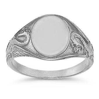 Welsh Dragon Signet Ring in .925 Sterling Silver