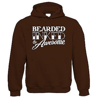 Bearded Inked & Awesome, Mens Funny Beard Hoodie