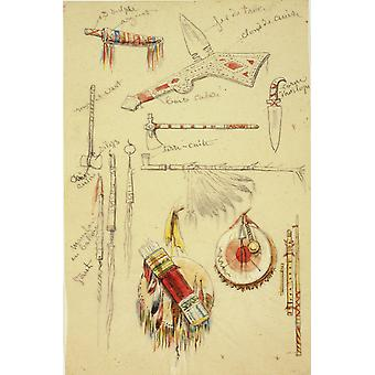 Rosa Bonheur - Indian Artifacts Weapons and Pipes Poster Print Giclee