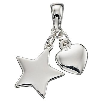 925 Silver Fashionable Star And Heart Necklace