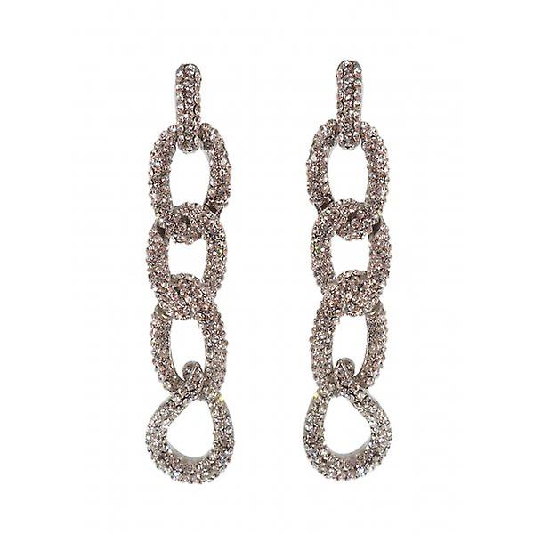 W.A.T Kelly Brook's Silver Sparkling Clear Crystal Chain Fashion Earrings