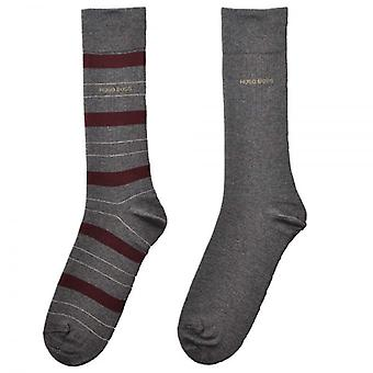 HUGO BOSS 2-Pack Cotton Logo Socks, Grey/Burgundy Stripe, 39/42