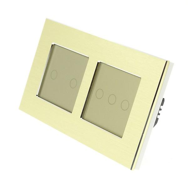 I LumoS or Brushed Aluminium Double Frame 5 Gang 2 Way Touch LED lumière Switch or Insert
