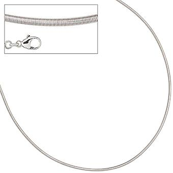 Choker necklace silver necklace 925 sterling silver rhodium plated 1.8 mm 45 cm lobster clasp