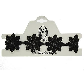Ladies Wide Floral Black Lace Choker Necklace