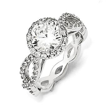 925 Sterling Silver Rhodium-plated Cubic Zirconia Round Twisted Ring - Ring Size: 6 to 8