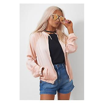 The Fashion Bible Peach Buckle Neck Bomber Jacket