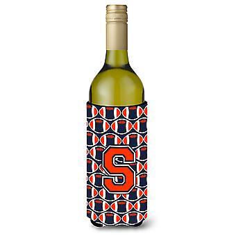 Brief S voetbal oranje, blauw en wit wijn fles drank isolator Hugger