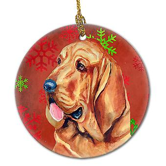 Bloodhound Red Snowflake Holiday Christmas Ceramic Ornament LH9331