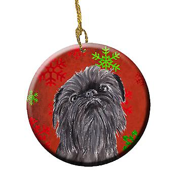 Brussels Griffon Red Snowflakes Holiday Ceramic Ornament