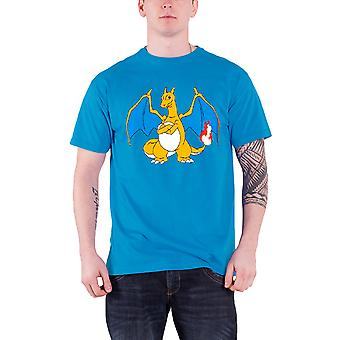 Pokemon T Shirt Charizard Flame Anime Character Logo Official Mens New Blue
