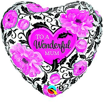 Qualatex 18 Inch Wonderful Mum Heart Shaped Foil Balloon