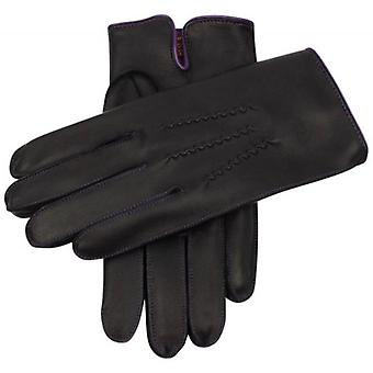 Dents Alnwick Cashmere Lined Hairsheep Leather Gloves - Black/Purple