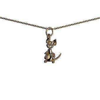 Oro 9ct 19x11mm solido pinguino pendente con un cavo Chain 16 pollici adatto solo per bambini