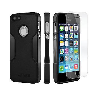 SaharaCase® caso del iPhone 5s/SE/5 Escorpión Negro, clásico paquete Kit de protección con vidrio templado de ZeroDamage®