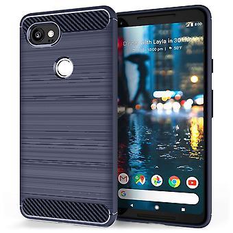 Google Pixel 2 XL Carbon Fibre Gel Case - Blue