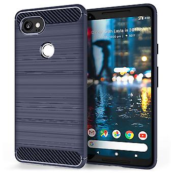Google pikseli 2 XL Carbon Fibre żel Case - niebieski
