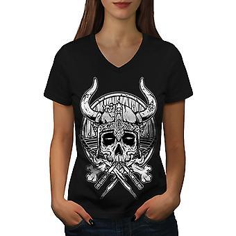 War Death Skull Horror Women BlackV-Neck T-shirt | Wellcoda