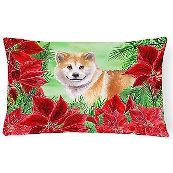 Shiba Inu Poinsettas Canvas Fabric Decorative Pillow