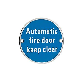 Zoo Automatic Fire Door Keep Clear - Polished Stainless - ZSS12PS