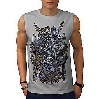 Alten Wikinger Totenkopf Männer GreySleeveless T-shirt   Wellcoda