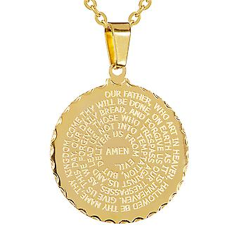 Ladies 18Kt Gold Plated English Prayer Round Pendant & 18'' Ball Chain