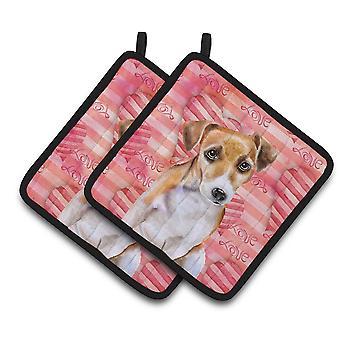 Carolines Treasures  BB9800PTHD Jack Russell Terrier #2 Love Pair of Pot Holders