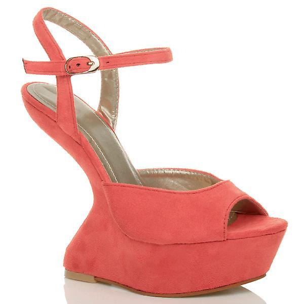 Ajvani womens high heel less wedge platform ankle strap pony peep toe shoes sandals