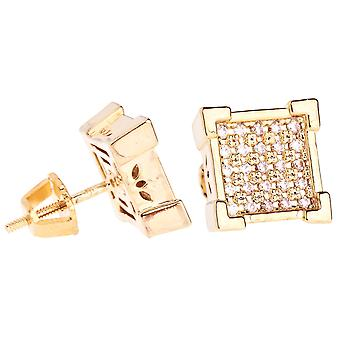 Iced Out Bling Micro Pave Ohrstecker - KING 10mm gold