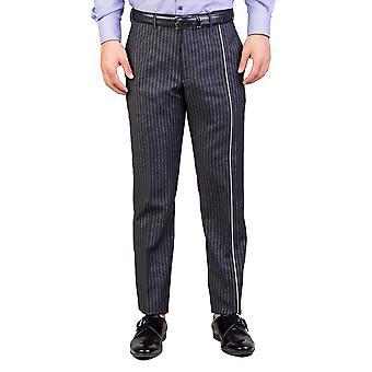 Dior Homme mäns Skinny Fit randig klänning byxor kritstrecksrandig kostym grå