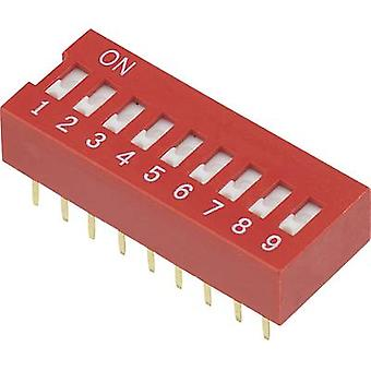 DIP switch Number of pins 9 Slide-type TRU COMPONENTS DSR-09