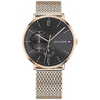 Tommy Hilfiger Mens oro d reloj de esfera negra 1791506 milanés