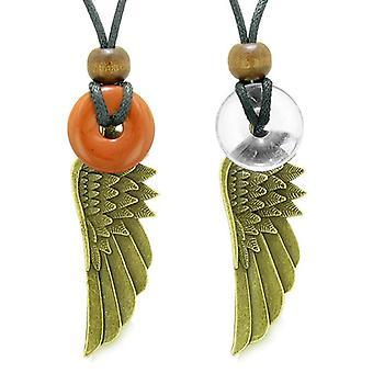 Guardian Angel Wings Magic Amulets Couples Best Friends Red Jasper Crystal Quartz Donut Necklaces