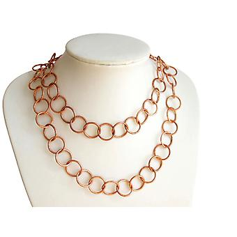 Gemshine - ladies - necklace - rose gold plated - LOOPS - 90 cm