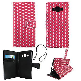 Mobile phone case pouch for mobile Samsung Galaxy J5 2016 polka dot Pink White