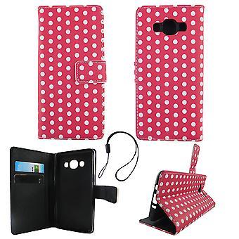 Handyhülle Tasche für Handy Samsung Galaxy J5 2016 Polka Dot Pink Weiss