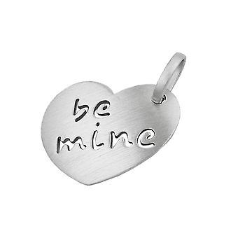 Massiver Herzanhänger Anhänger Herz - be mine - rhodiniert Silber