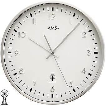 Wall clock radio clock metal housing of brushed aluminium mineral glass